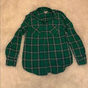 Merona Green striped shirt